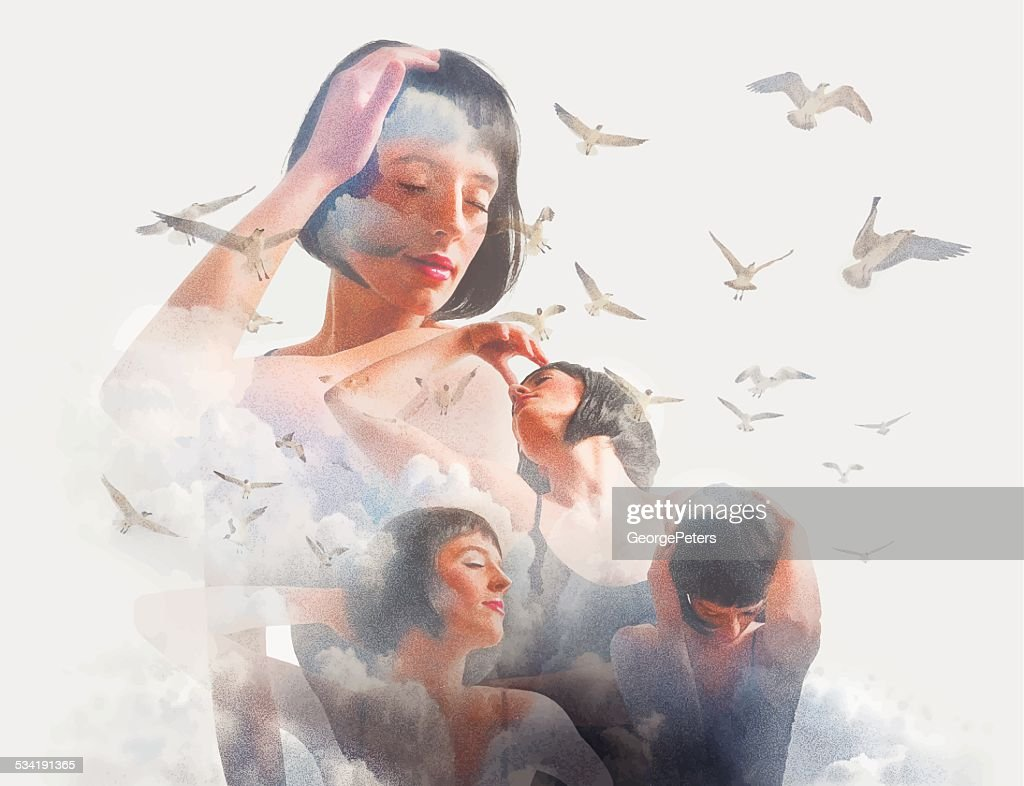Spiritual Woman, Clouds and Birds