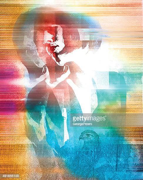 spiritual woman experience mixed emotions - schizophrenia stock illustrations
