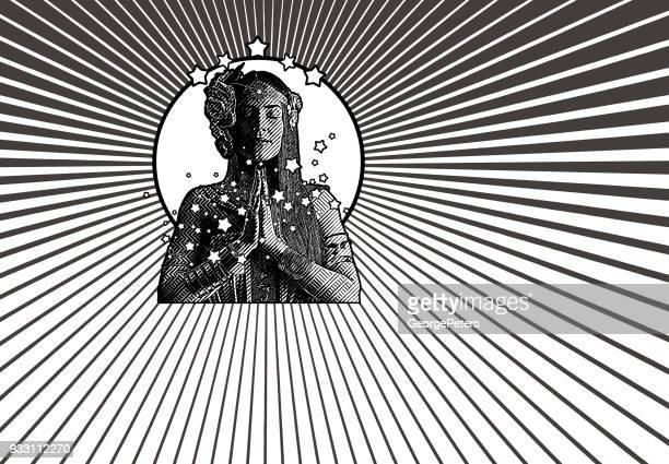 spiritual woman prayer and meditation - goddess stock illustrations, clip art, cartoons, & icons