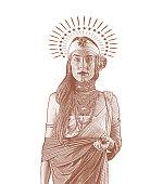 Spiritual woman with halo