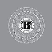 Spirographic Monogram Design Template with capital letter B in center