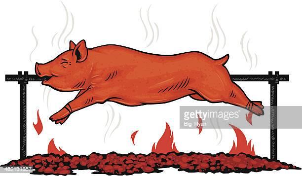 spit roasted pig