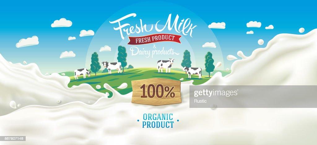 splash milk and rural landscape