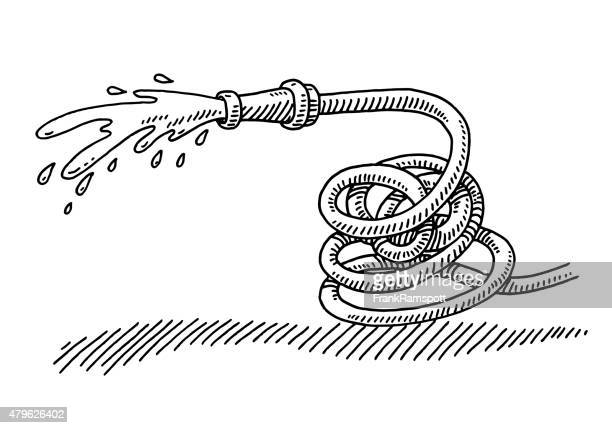 Splashing Hosepipe Gardening Equipment Drawing