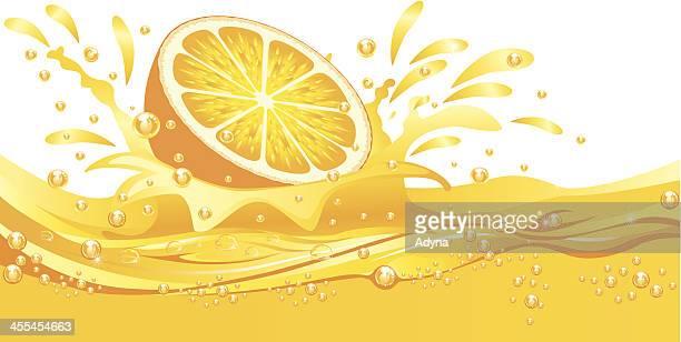 splashing orange - lemonade stock illustrations