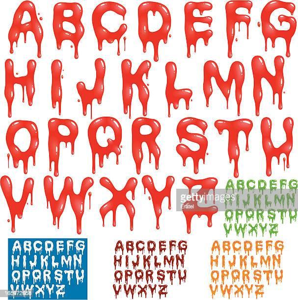 splatter alphabet - slimy stock illustrations, clip art, cartoons, & icons