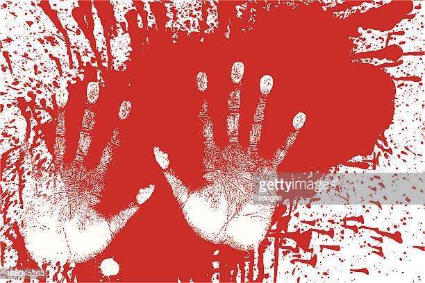 ilustraciones, imágenes clip art, dibujos animados e iconos de stock de salpicado de sangre y handprints-evidencia forense - huella de mano