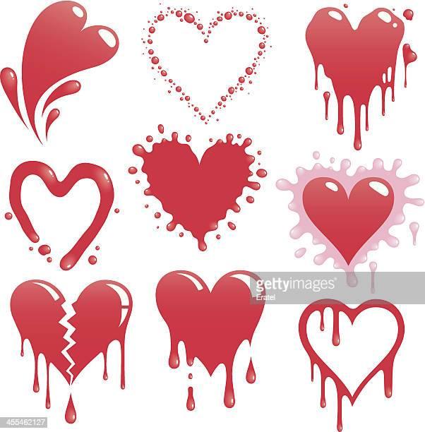 splattered hearts - slimy stock illustrations, clip art, cartoons, & icons
