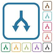 Split arrows down simple icons