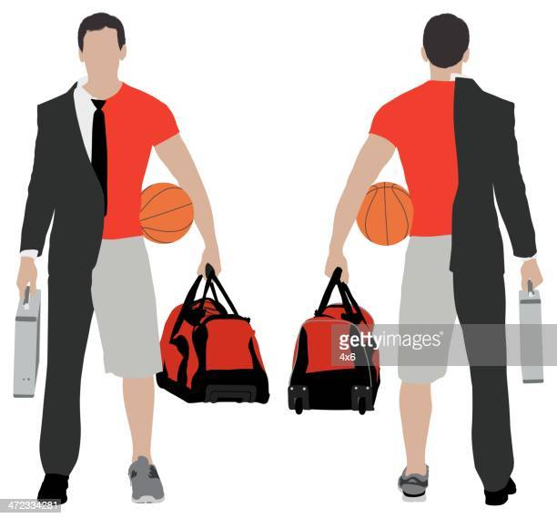 split person: businessman & sportsman - conversion sport stock illustrations