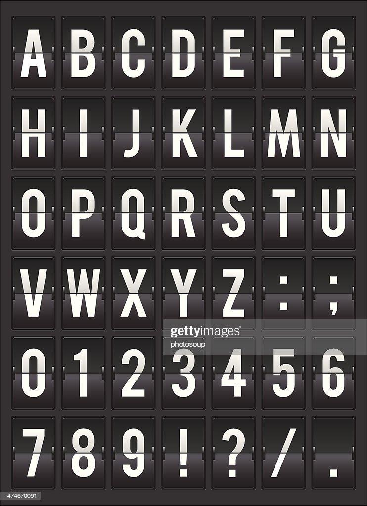 split-flap alphabet display template illustration