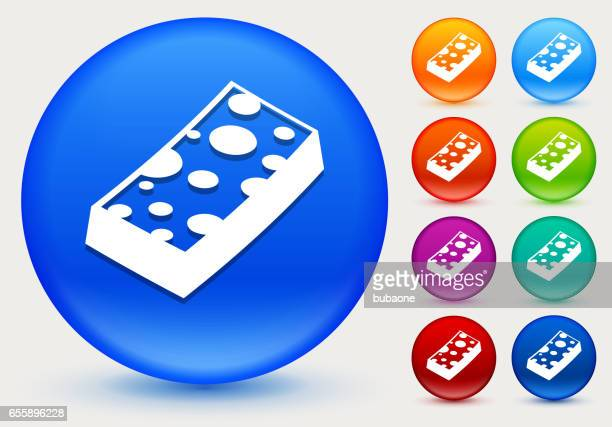 sponge icon on shiny color circle buttons - cleaning equipment stock illustrations, clip art, cartoons, & icons