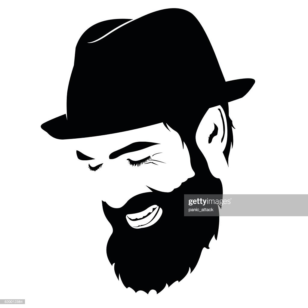 Spontaneous laughing bearded man face clip art