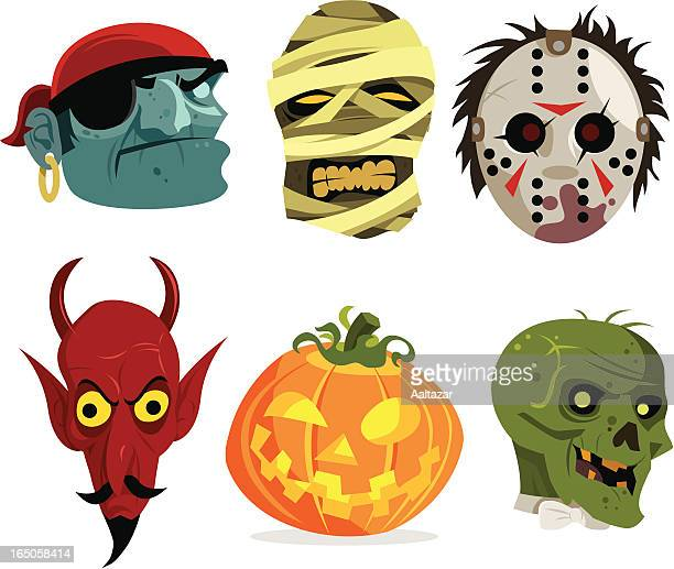 spooky character icons - stage costume stock illustrations
