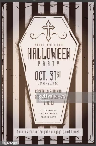 クロスとスクロールデザイン要素を持つ不気味な棺ハロウィーンパーティー招待デザインテンプレート - 棺点のイラスト素材/クリップアート素材/マンガ素材/アイコン素材