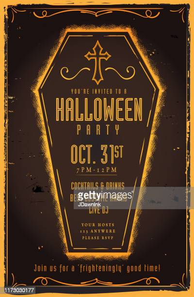spooky coffin halloween party invitation design template with cross and scroll design elements - jdawnink stock illustrations