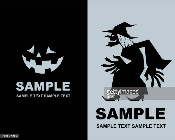 Spooky fun Halloween party invitation, evil witch with jack o' lantern (pumpkin) silhouette
