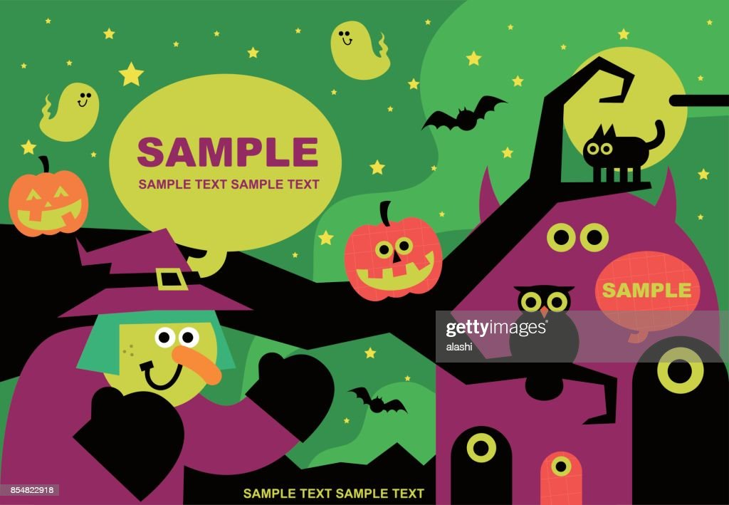 spooky fun halloween party invitation happy witch greeting star lit