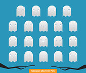 Spooky, funny ghosts vector of 19 different emotions of cartoonish, horror, halloween, character design concept, halloween ghost icon set