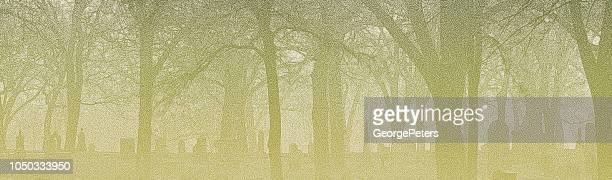 spooky graveyard on a foggy night - treelined stock illustrations, clip art, cartoons, & icons