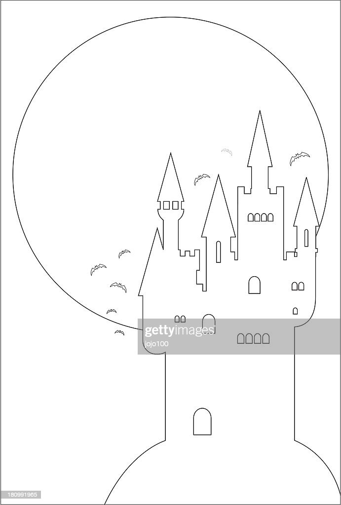 Spooky Halloween Castle And Full Moon In Outline Vector Art