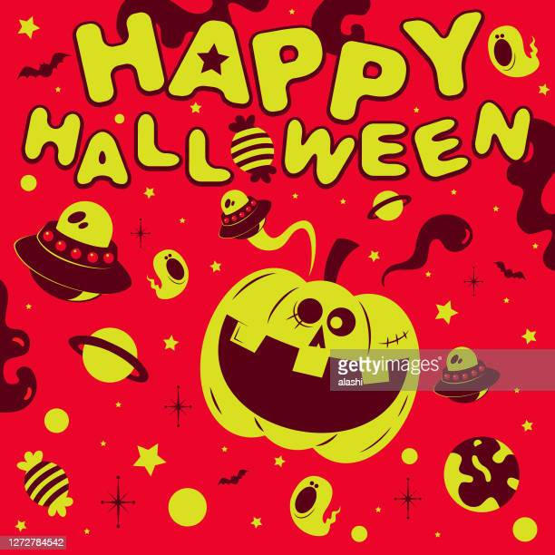 spooky halloween party invitation; outer space with pumpkin jack o' lantern, ufo, star, ghost, bat, candy and planet - arts culture et spectacles stock illustrations