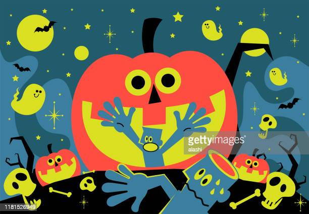 spooky halloween party invitation, star lit night sky background with scared blue man inside of jack o' lantern (pumpkin), ghost, bat, skull, dead standing tree - anthropomorphic foods stock illustrations, clip art, cartoons, & icons