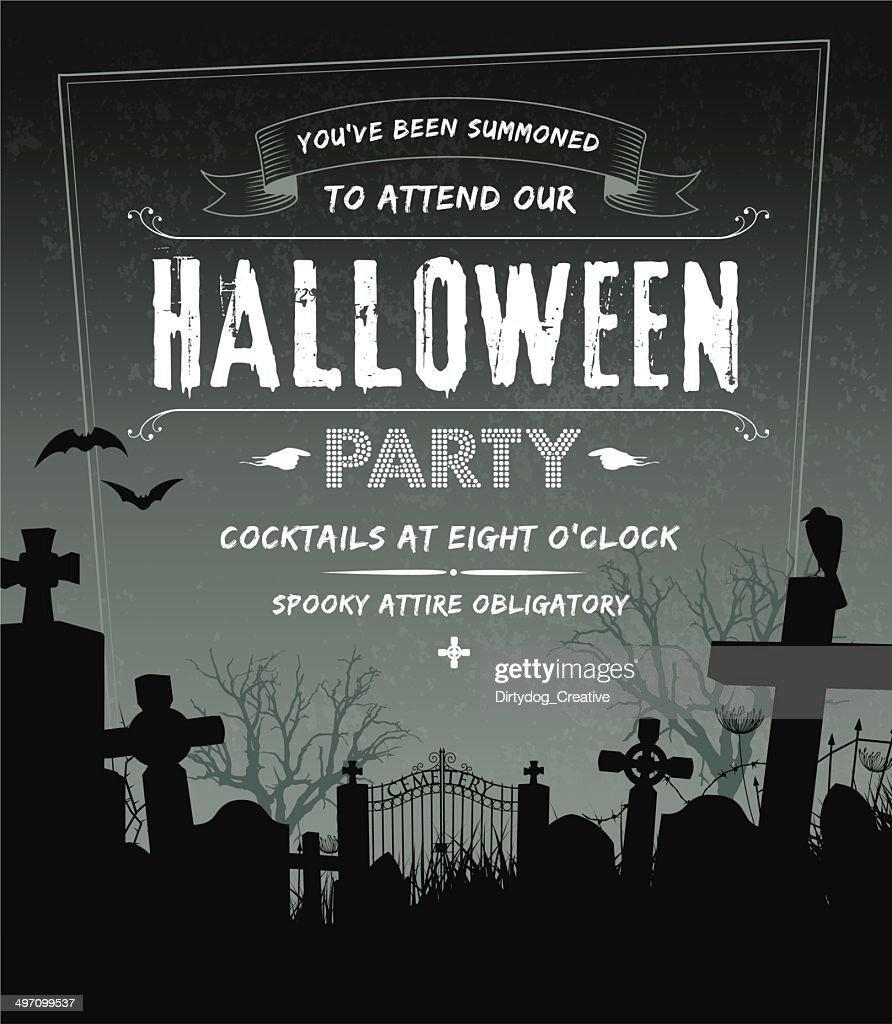 spooky halloween party invite complete with cemetery and grunge