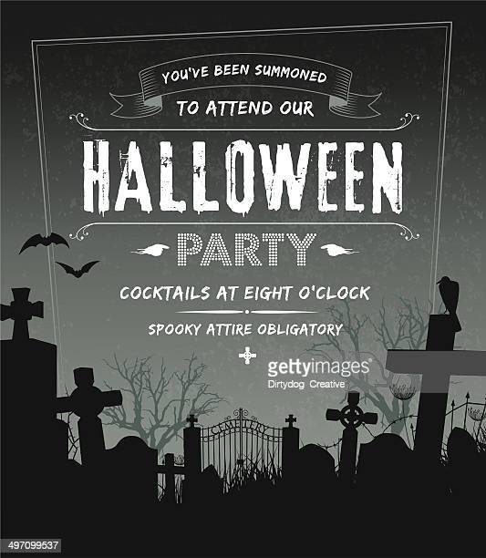 spooky halloween party invite complete with cemetery and grunge background - party social event stock illustrations