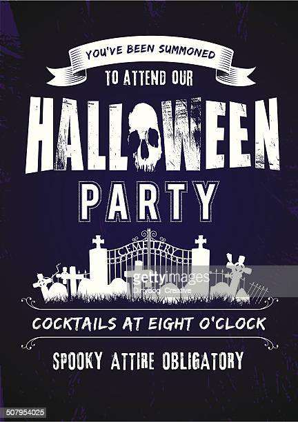 Spooky Halloween party invite complete with cemetery and grunge background