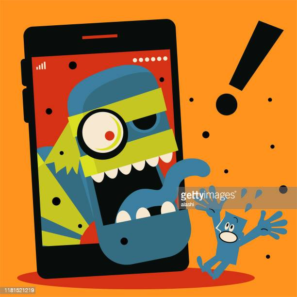 spooky halloween zombie comes out of mobile phone to scare blue man - computer bug stock illustrations