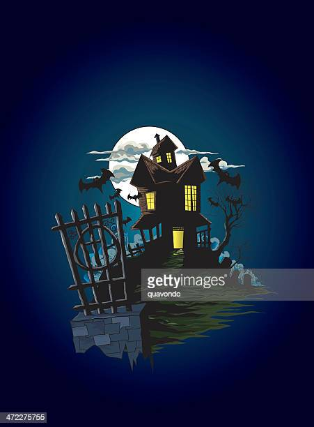fenced spooky halloween haunted house illustration, copy space - run down stock illustrations, clip art, cartoons, & icons