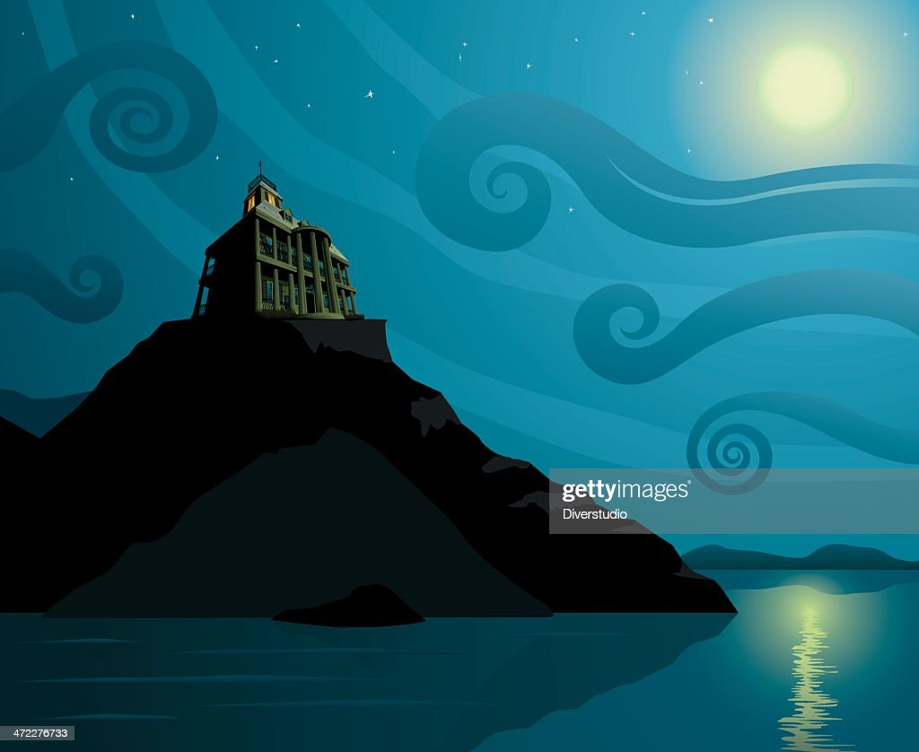 Spooky Home By The Sea : stock illustration
