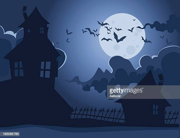 spooky houses - halloween scary stock illustrations