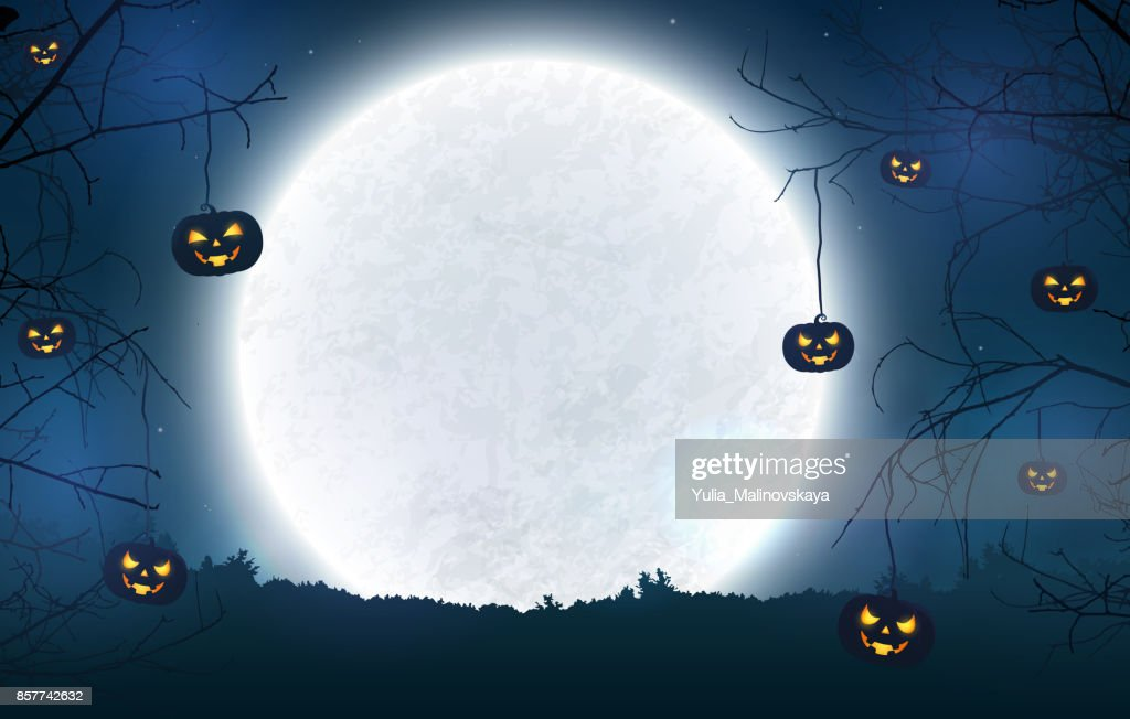 Spooky night background for Halloween banner.