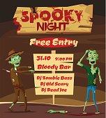 Spooky night. Halloween party. Cartoon vector illustration