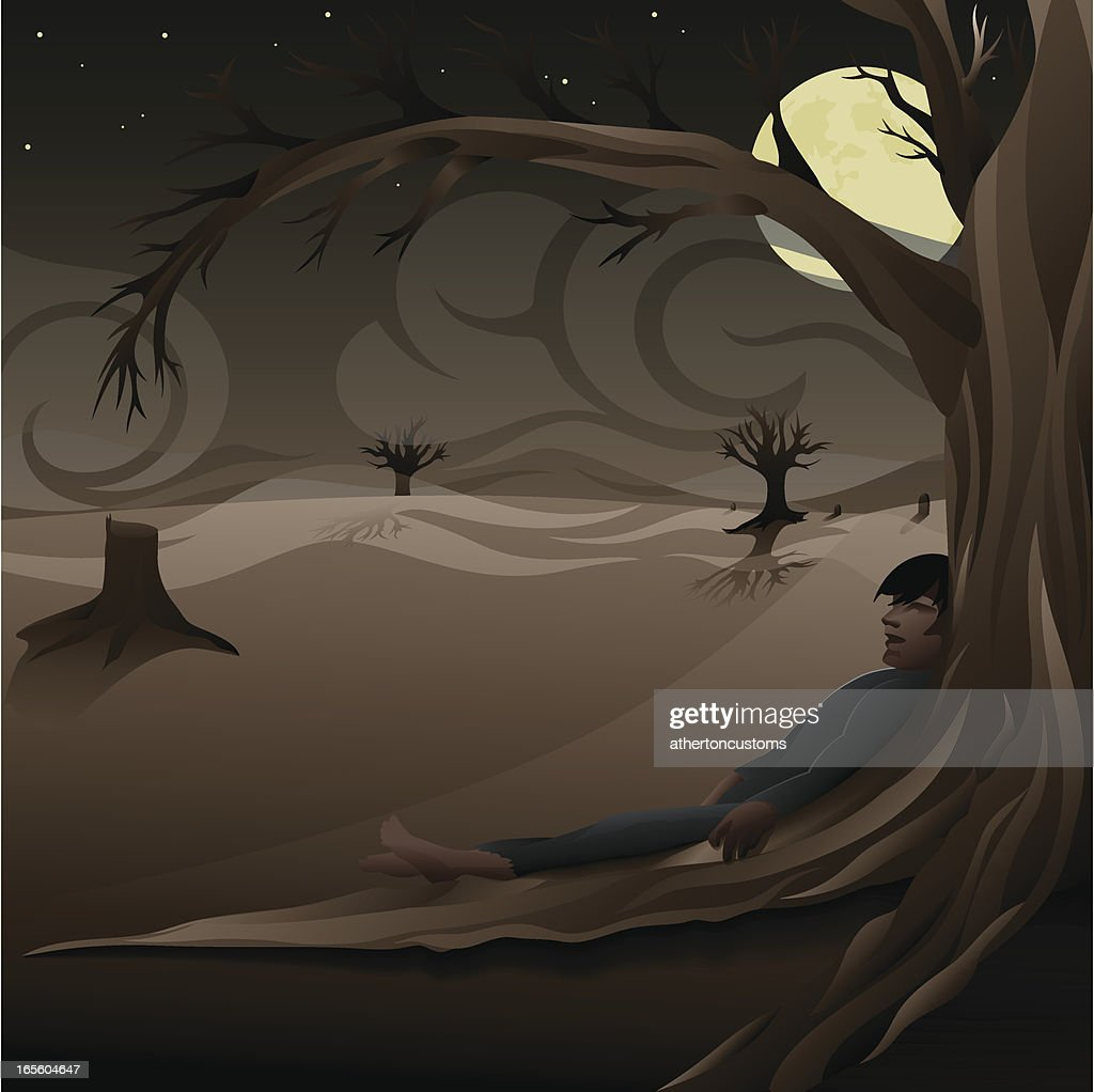Spooky night scene with body : Stock Illustration