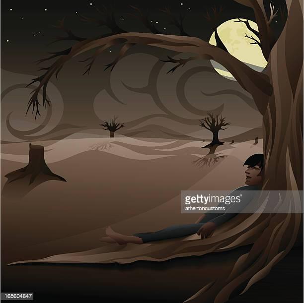 Spooky night scene with body