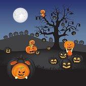 Spooky pumpkin field