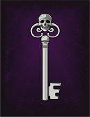 Spooky Silver Skeleton Key