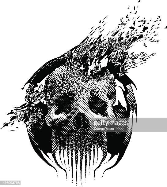 spooky skull listening to music, blown away by song - heavy metal stock illustrations