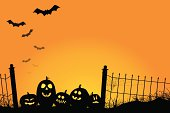 Spooky Sunset with Jack O'Lanterns and Bats
