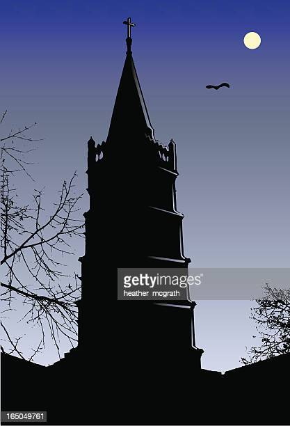 spooky tower - bell tower tower stock illustrations