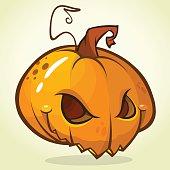 Spooky vector Halloween Jack-o-Lantern. Pumpkin head isolated