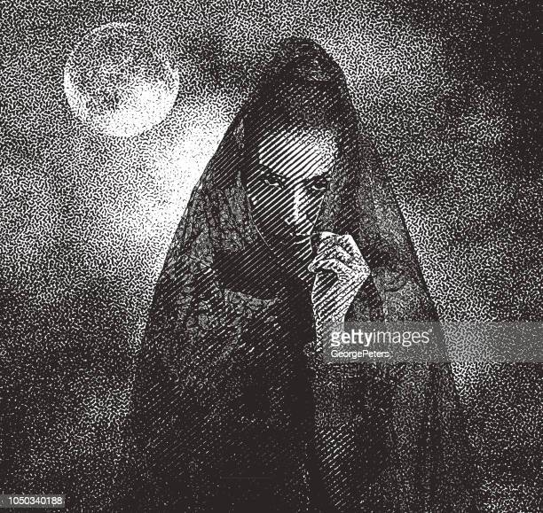 spooky woman with moon and dramatic sky - vampire stock illustrations