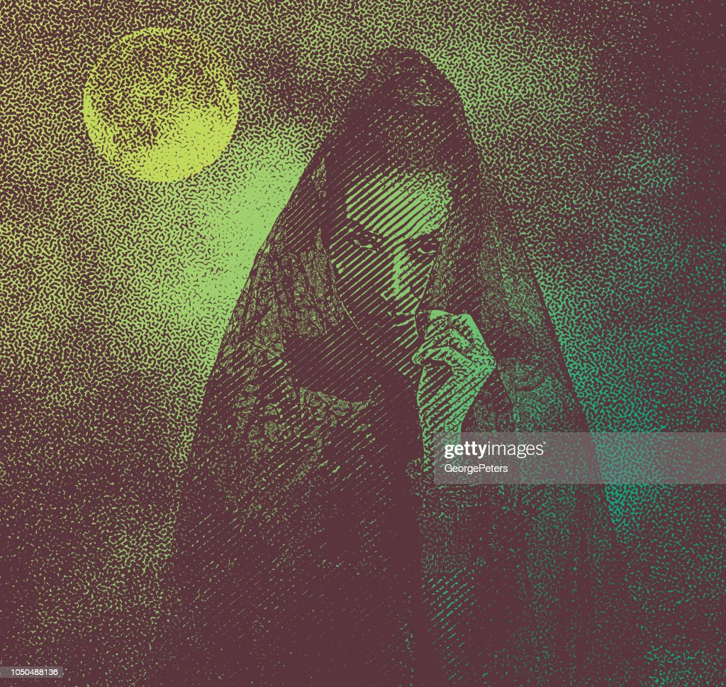 Spooky woman with moon and dramatic sky : stock illustration