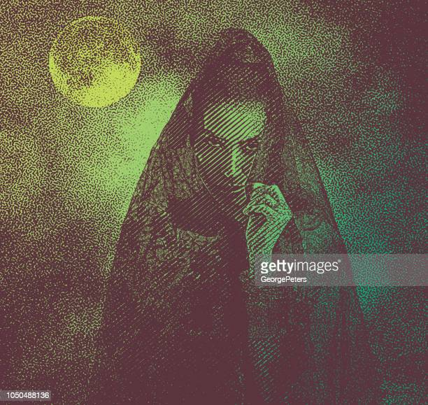 spooky woman with moon and dramatic sky - overcast stock illustrations, clip art, cartoons, & icons