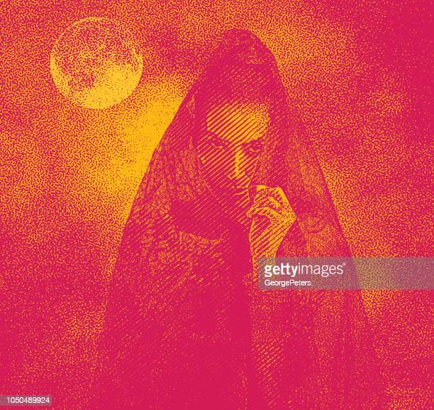 Spooky woman with moon and dramatic sky