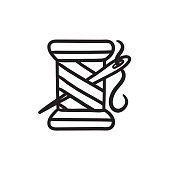 Spool of thread and needle sketch icon