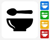 Spoon and Bowl Icon Flat Graphic Design